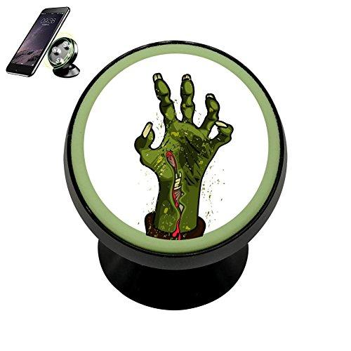 Karfun 360 Degree Rotation Magnetic Phone Car Mount Holder Halloween Zombie 3D Printed For Smartphone With Luminous (Halloween Treats Using Apples)