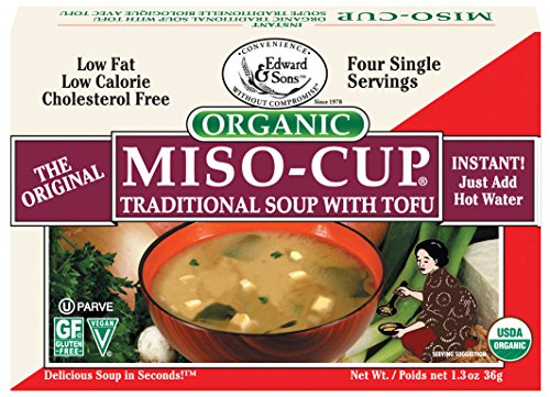 Edward & Sons Miso Cup Organic Traditional Soup with Tofu, Single Serve Envelopes, 4 Count Box (Pack of 12)