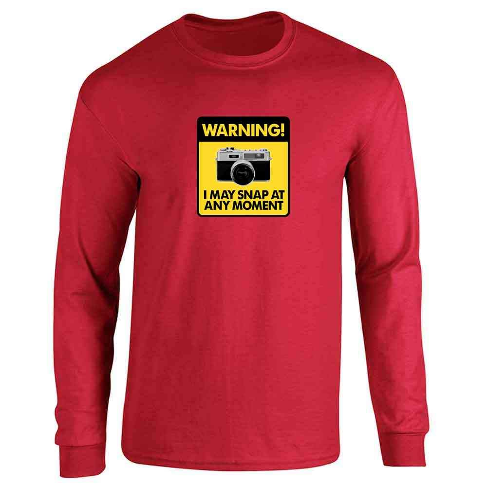 Warning I May Snap at Any Moment Retro Camera Long Sleeve T-Shirt