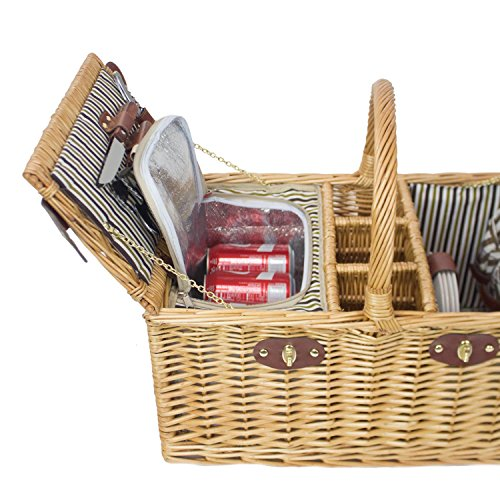 Best picnic basket set for 4 : Zelancio person square picnic basket set with insulated