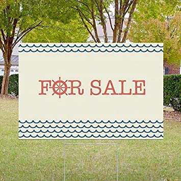 Nautical Wave Double-Sided Weather-Resistant Yard Sign for Sale 27x18 CGSignLab 5-Pack
