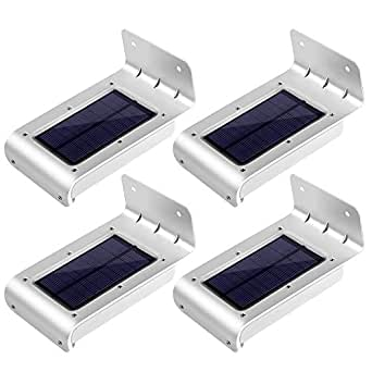 [2nd Generation] LE 4 Pack Solar Powered 16 LED Outdoor Motion Sensor Light, Waterproof Wireless Night Light, Bright Wall Light, Security Light for Entrance, Pathways, Driveway, Garden, Deck, Yard