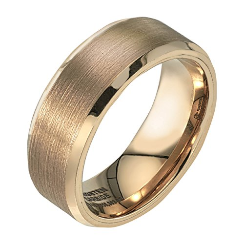 AX Jewelry Mens 8mm Yellow Tungsten Band Satin Finish