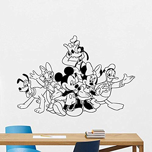 Mickey Minnie Mouse Donald Duck Goofy Pluto Webbigail Vinyl Wall Decal Boy Walt Disney Characters Cartoons Vinyl Sticker Baby Girl Boy Custom Kids Room Wall Art Bedroom Nursery Wall Decor Mural 111PS