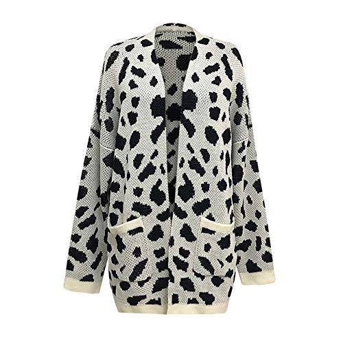 VJGOAL Mujeres Otoño e Invierno Casual de Punto de Moda Estampado Leopardo Cardigan Chaqueta de Manga largaT-Shirt Sweater Coat: Amazon.es: Ropa y ...