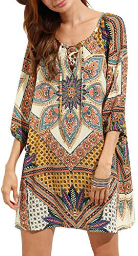 Risesun Womens Bohemian Vintage Printed Ethnic Style Half Sleeve Tunic DressS