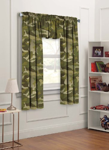mo 3-Piece Camouflage Kids Bedroom Curtain Panel Set, Green, 63-Inch ()