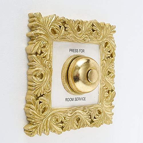 CasaJame Wandornament Schild Wandklingel Hotel Concierge Glocke Press for Room Service 20x20cm Gold