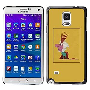 Colorful Printed Hard Protective Back Case Cover Shell Skin for Samsung Galaxy Note 4 IV / SM-N910F / SM-N910K / SM-N910C / SM-N910W8 / SM-N910U / SM-N910G ( King Parody Caricature Monarchy Crown Man )