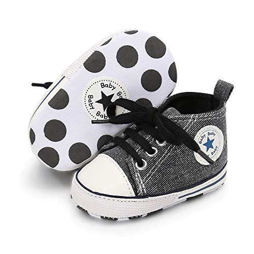 Mybbay Infant Baby Boy Girl Canvas Sneakers Soft Sole Anti-Slip Star High Top Newborn First Walker Shoes 3-18 Months (3-6 Months Infant, D-Cow Black)