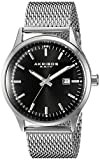 Akribos XXIV Men's AK901SSB Black Dial Silver-Tone Quartz Stainless Steel Mesh Bracelet Watch