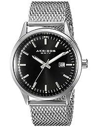 Akribos XXIV Men's AK901SSB Round Black Radiant Sunburst Dial Three Hand Quartz Movement Bracelet Watch