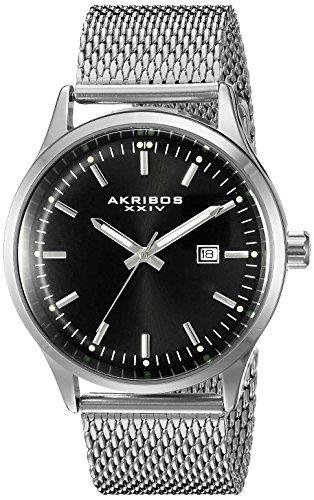 Akribos XXIV Men's AK901SSB Black Dial Silver-Tone Quartz Stainless Steel Mesh Bracelet (2 Tone Quartz Bracelet)