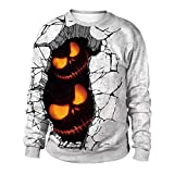 Farjing Women Halloween Pumpkins 3D Printing Long Sleeve Hoodie Sweatshirt Pullover Top(L,White )