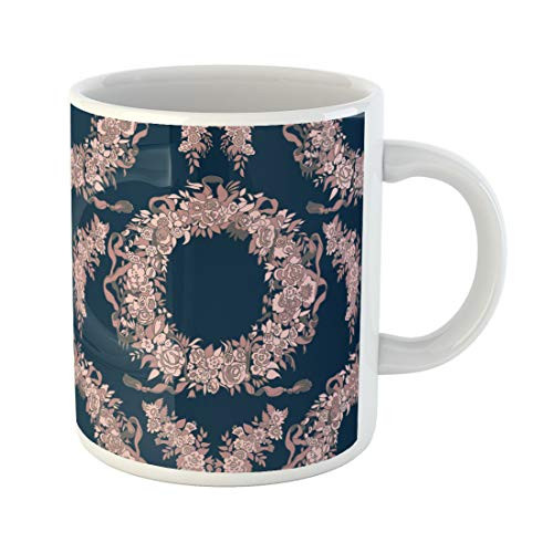 Semtomn Funny Coffee Mug Pink Dusty Garlands of Flowers and Blue Pattern Bloom 11 Oz Ceramic Coffee Mugs Tea Cup Best Gift Or Souvenir -