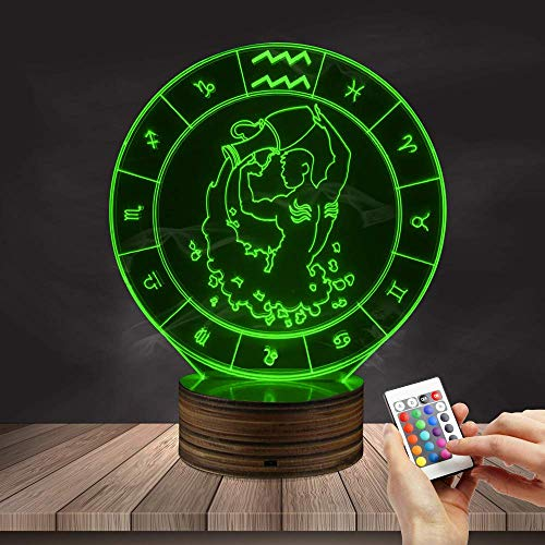 Novelty Lamp, 3D LED Lamp Optical Illusion Aquarius Night Light, USB Powered Remote Control Changes The Color of The Light, Infant and Children's Home Bedroom Decoration Gifts,Ambient Light by LIX-XYD (Image #4)