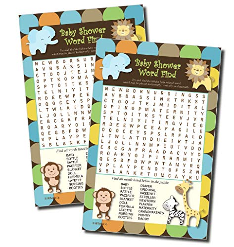 Word Find Search - Baby Shower Game - King of Jungle Theme (50-sheets) ()