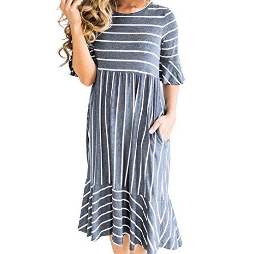 - HODOD Women Half Sleeve Stripe Elastic Waist Pocket Ruffle Loose Mini Casual Dress