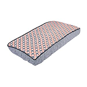 Bacati Noah Tribal Quilted Top Cotton Percale with Polyester Batting Diaper Changing Pad Cover, Coral/Navy Dot/Cross