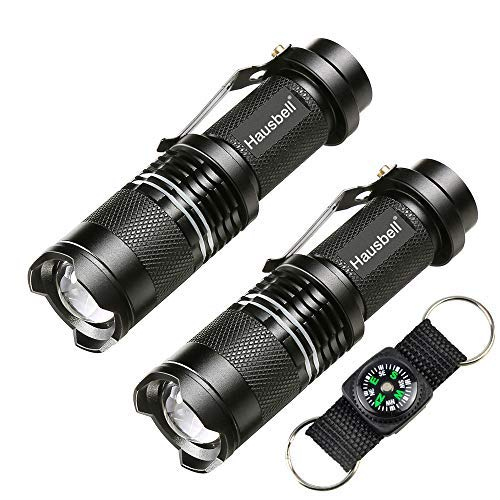 Hausbell Flashlights, Tactical Flashlight 7W Mini LED Flashlight, LED Handheld Flashlights, Zoomable, High Lumen, Water Resistant, 3 Light Modes Camping Lantern Flashlight for Camping, Hiking, Outdoor