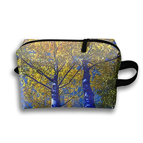 PANQJN The Blue Trees Cosmetic Bag Travel Storage Bag, Portable Waterproof Travel Purse for Women - Oxford Valet