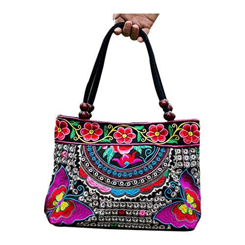 SODIAL Handmade Flowers Tote Style R body Fashion Bags Shoulder Summer Cross Handbag Ladies Ethnic Chinese Women Embroidery CqRSxrC