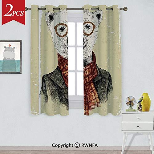 - RWNFA Grommet Blackout CurtainHipster Bear with Glasses Scarf Jacket Wild Mammal Humorous Artwork Window Curtains,2 Panels,Each Panel Size is,W42xL84 Inch,Cream Dark Orange Black