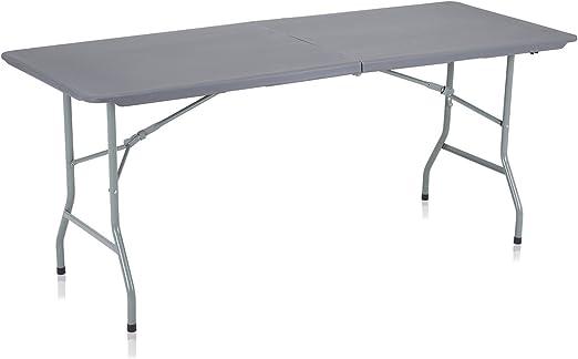 Strattore Table de Jardin Plastique Traiteur Pliante Table Buffet Picnic  Plateau Camping Pliable avec Poignée - 180 x 70 x 74 cm en Gris foncé