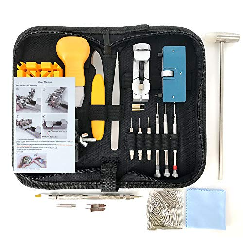 HAOBAIMEI 168 PCS Watch Repair Kit Professional Spring Bar Tool Set,Watch Battery Replacement Tool Kit,Watch Band Link Pin Tool Set with Carrying Case and Instruction Manual (Black)