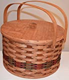 AMISH WARES Amish Handcrafted Round Double Pie Basket with Two Swivel Handles, Divider Tray and Lid - Authentic and Collectible Basket Handmade in USA - Natural Basket Colors Which May Vary