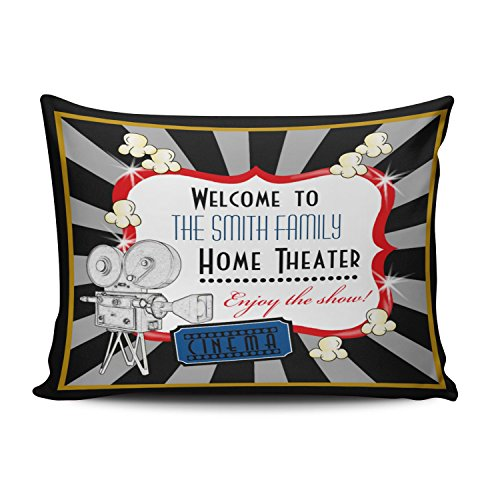 KEIBIKE Personalized Movie Theater Cinema Rectangle Decorative Pillowcases Design Zippered Queen Pillow Covers Cases 20x30 Inches One Sided by KEIBIKE