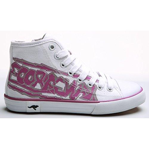 KangaRoos - Zapatillas con talón alto Modelo 2053 para niños Blanco/Naranja