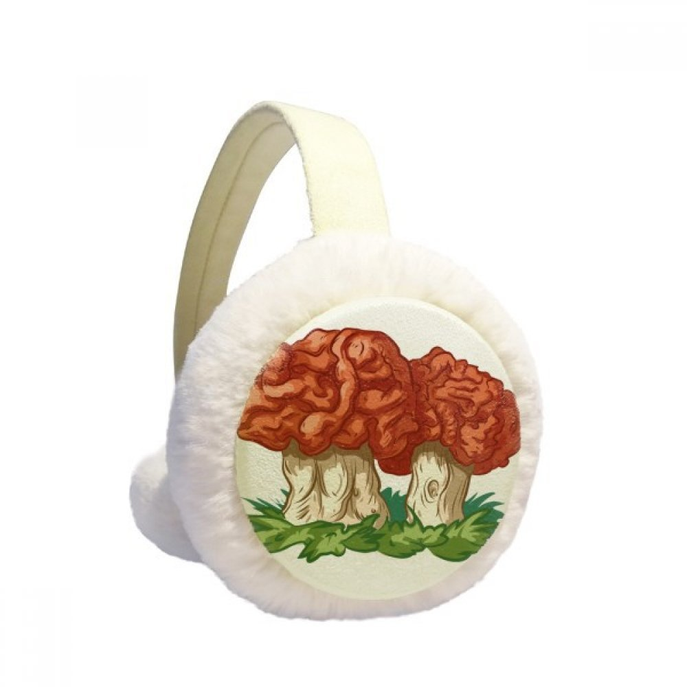 Cute Red Mushroom Illustration Pattern Winter Earmuffs Ear Warmers Faux Fur Foldable Plush Outdoor Gift