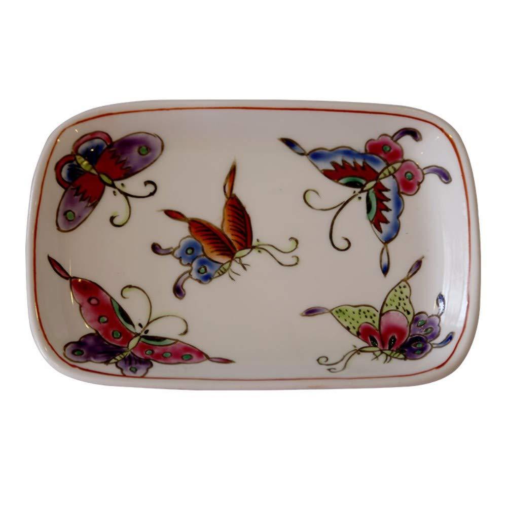 Keramik Seifenschale, Original Design Handmade Mini Rechteckige Multifunktionale Storage Hand Bemalt Red Butterfly Retro Antiken Ländlichen Stil Kreative Vintage Modern Home Dekoration Für Bad Küc