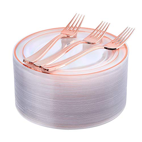 Rose Gold Plates 72 Pieces & Plastic Forks 72 Pieces, Small Cake Plates 7.5 inch, Premium Plastic Dessert Plates and Disposable Appetizer Plates Great for Party and Wedding - Wedding Cake Plate