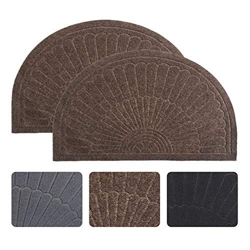 1/2 Round Door Mat - Half Round Door Mat Entrance Rug Floor Mats Set of 2, Waterproof Floor Mat Shoes Scraper Doormat, 18''x30'' Patio Rug Dirt Debris Mud Trapper Out Door Mat Low Profile Washable Carpet (Coffee-2 Pack)