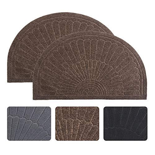 Half Round Door Mat Entrance Rug Floor Mats Set of 2, Waterproof Floor Mat Shoes Scraper Doormat, 18''x30'' Patio Rug Dirt Debris Mud Trapper Out Door Mat Low Profile Washable Carpet (Coffee-2 Pack)