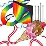 aGreatLife Huge Rainbow Kite and Ice Cream Kite: Double the Fun Trick and Adventure Two of the Easy Flyer Kites for Outdoor Games in One Amazing Bundle for Kids and Adults