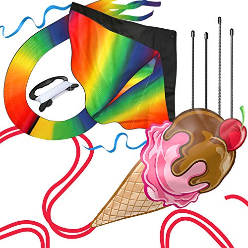 aGreatLife Huge Rainbow Kite and Ice Cream Kite: Double the Fun Trick and Adventure Two of the Easy Flyer Kites for Outdoor Games in One Amazing Bundle for Kids and Adults by aGreatLife