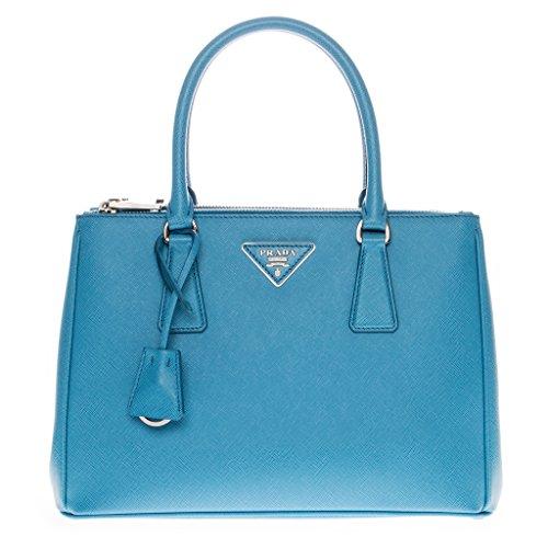 Prada Womanâ€s Saffiano Lux Small Double-Zip Tote Bag Blue