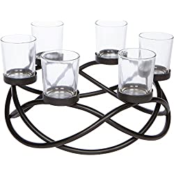 Decorative 6-cup Circular Iron Candle Holder Centerpiece