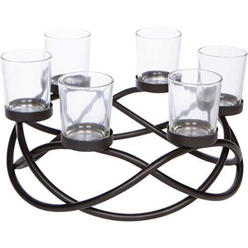 (Seraphic Table Centerpiece Candle Holder, Decorative 6-Cup Circular, Iron)