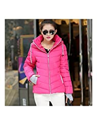 Winter Woman Hoodied Short Plus Size Down Coat rose red