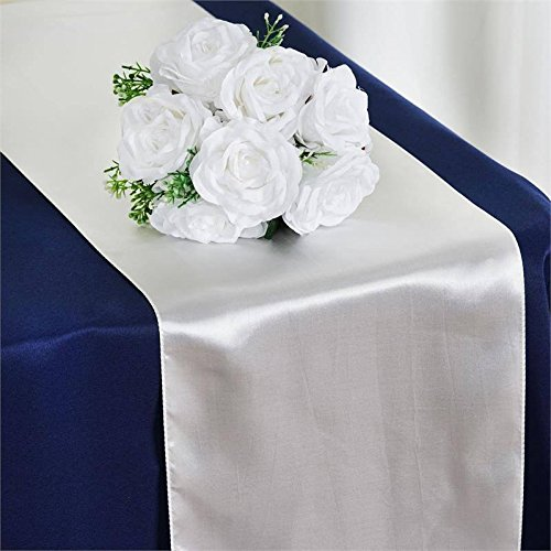Tiger Chef 12-Pack White 12 x 108 inches Long Satin Table Runner for Wedding, Table Runners fit Rectange and Round Table Decorations for Birthday Parties, Banquets, Graduations, Engagements]()