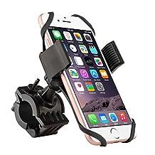 Insten Universal Bicycle Motorcycle MTB Bike Handlebar Mount Phone Holder Cradle W/ Secure Grip For iPhone 7/ 7 Plus/ 6S/ 6S Plus, Galaxy On5/ S7 Edge/ S7, LG G5/Nexus 5/V10, HTC One, Black