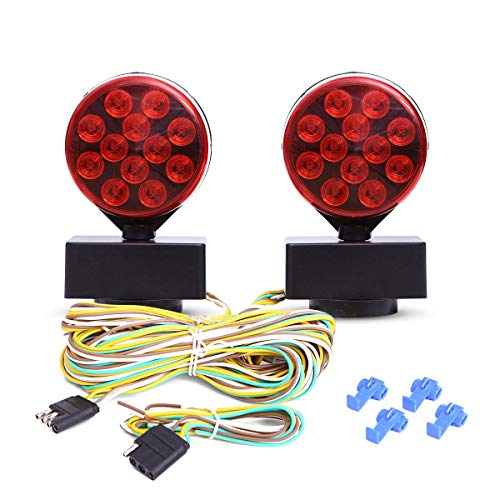 12V LED Magnetic Towing Light Kit for Boat Trailer RV Truck -Magnetic Strength 55 Pounds DOT Certified Front Amber/Back Red 100,000 Hours LED Life! (Towing A Car Backwards On A Car Dolly)