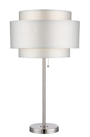 Table Lamp Ps Silver Paper Shade E27 Cfl 23w Amazon Com