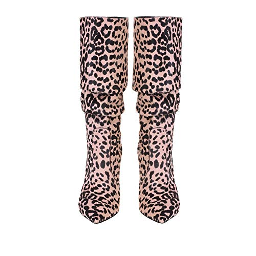 Tacco SYYAN A Sexy Centrali Fatto Pompa Stivali 42 Alto Leopardo Donna Scamosciato Mano Pink Inverno qqRwg