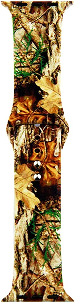 Compatible for Apple Watch SE Series 6 5 4 3 2 1 Leopard Print Camo Leaves Strap Bracelet Wristbands for i-Watch 38/40mm 42mm/ 44mm