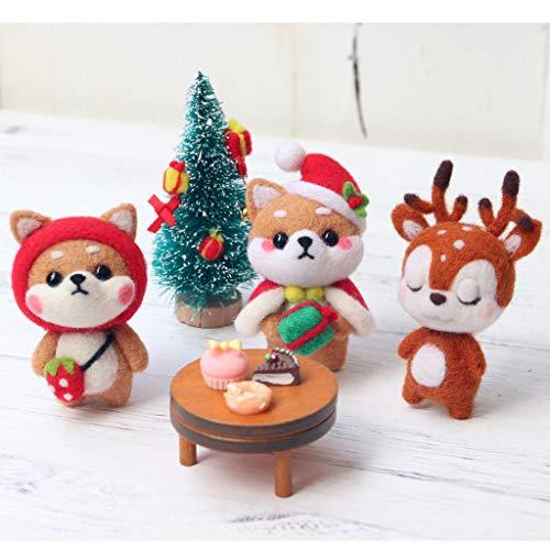 vegan Lovely Sika Deer Christmas Elk Gift Box Wool Felt Craft Felting Poked Set Handmade DIY for Needle Material Bag Package